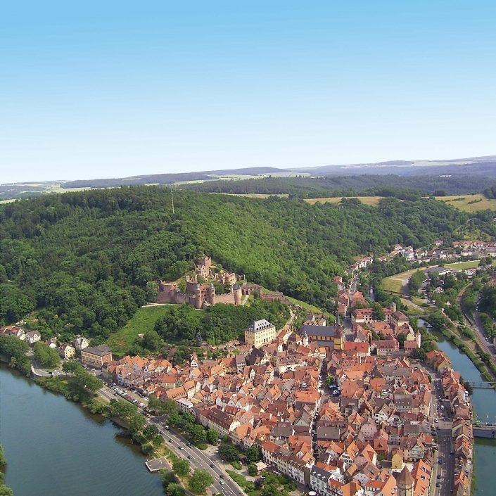 Luftbildaufnahme Wertheim an Main und Tauber